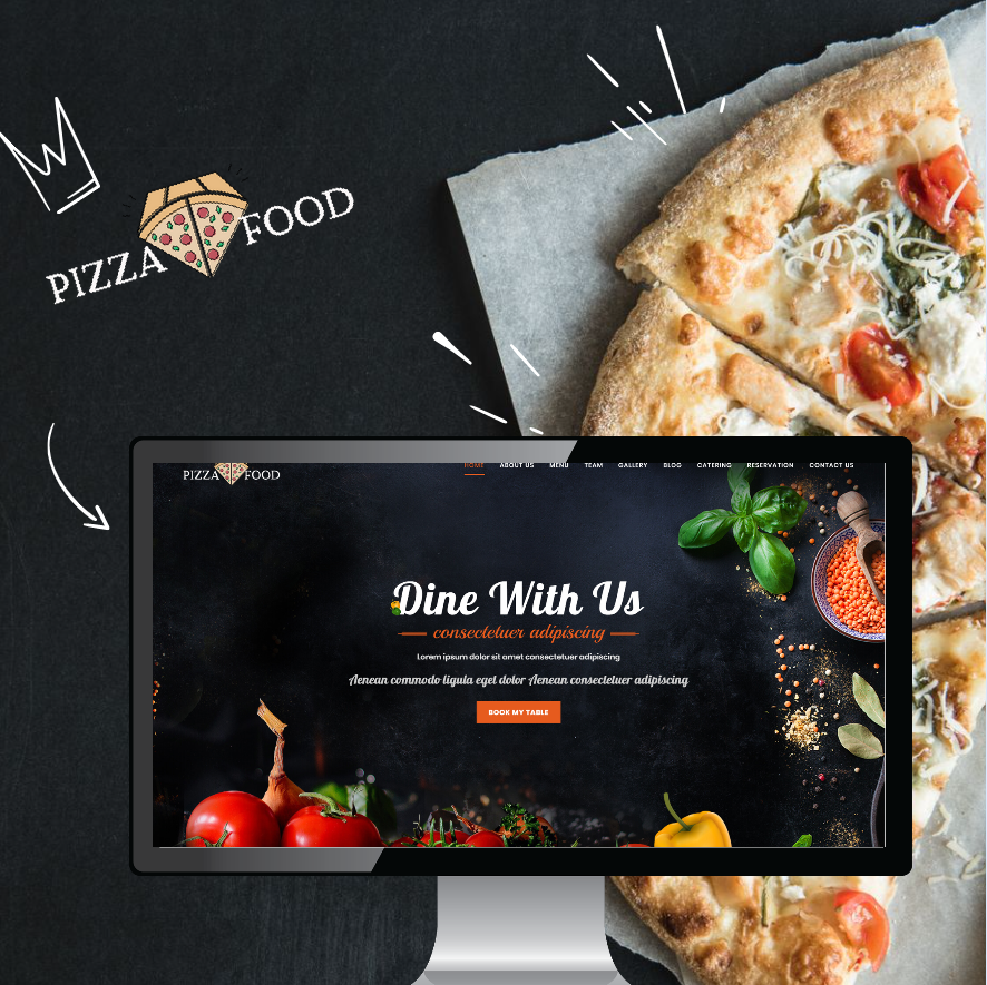"""Pizza Food - HTML for restaurant, cafe or pizzeria"" modèle  de page d'atterrissage Bootstrap #103095"