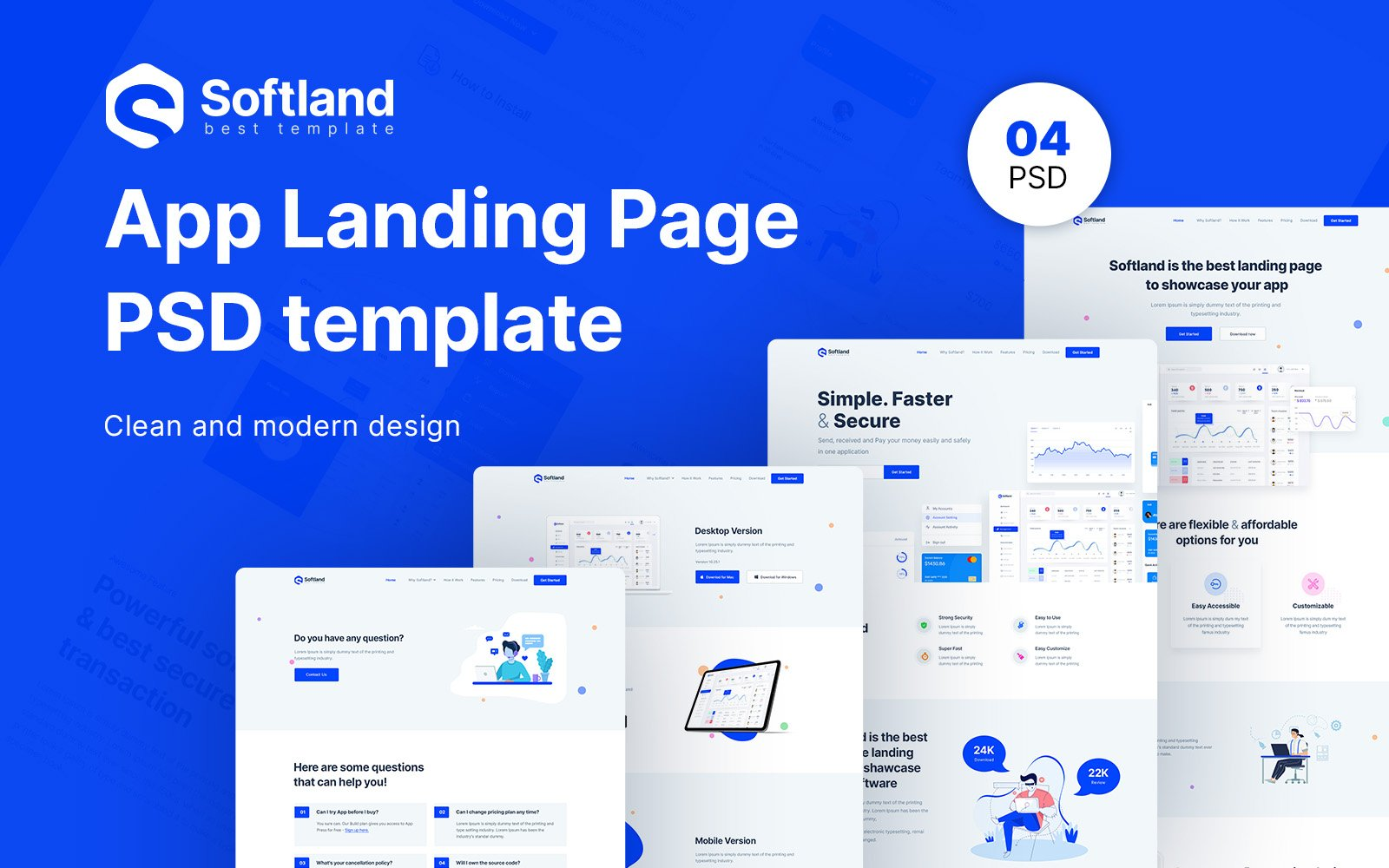 Softland- Software Store Template Photoshop №103094