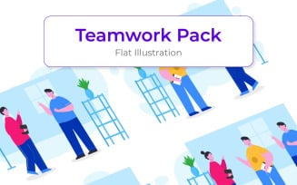 Teamwork Illustration Template - Vector Image