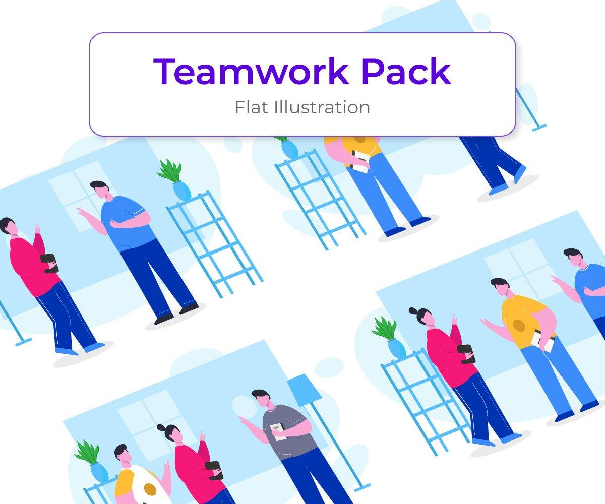 Teamwork Illustration Template Vector