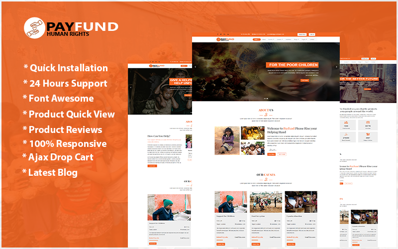 "Website Vorlage namens ""Payfund - Charity Nonprofit Organization"" #103096"