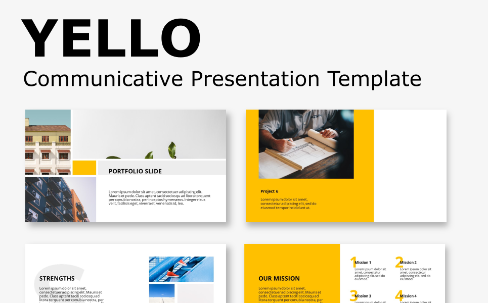Yello - Communicative Presentation Template PowerPoint Template