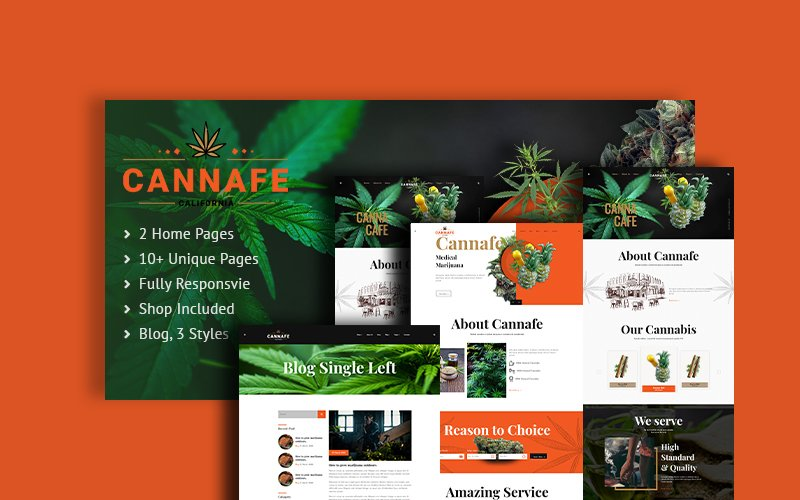 """""""Cannafe   Cannabis Cafe HTML5"""" Responsive Website template №103144"""