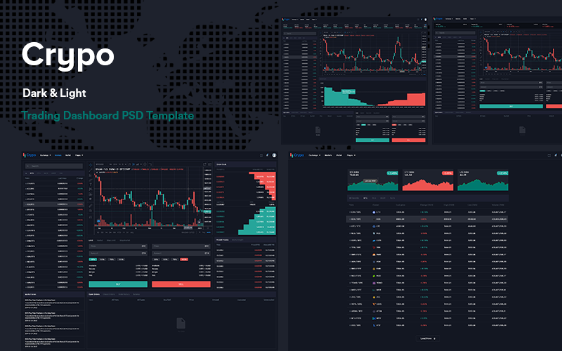 Crypo - Cryptocurrency Trading Dashboard UI KIT PSD sablon 103145