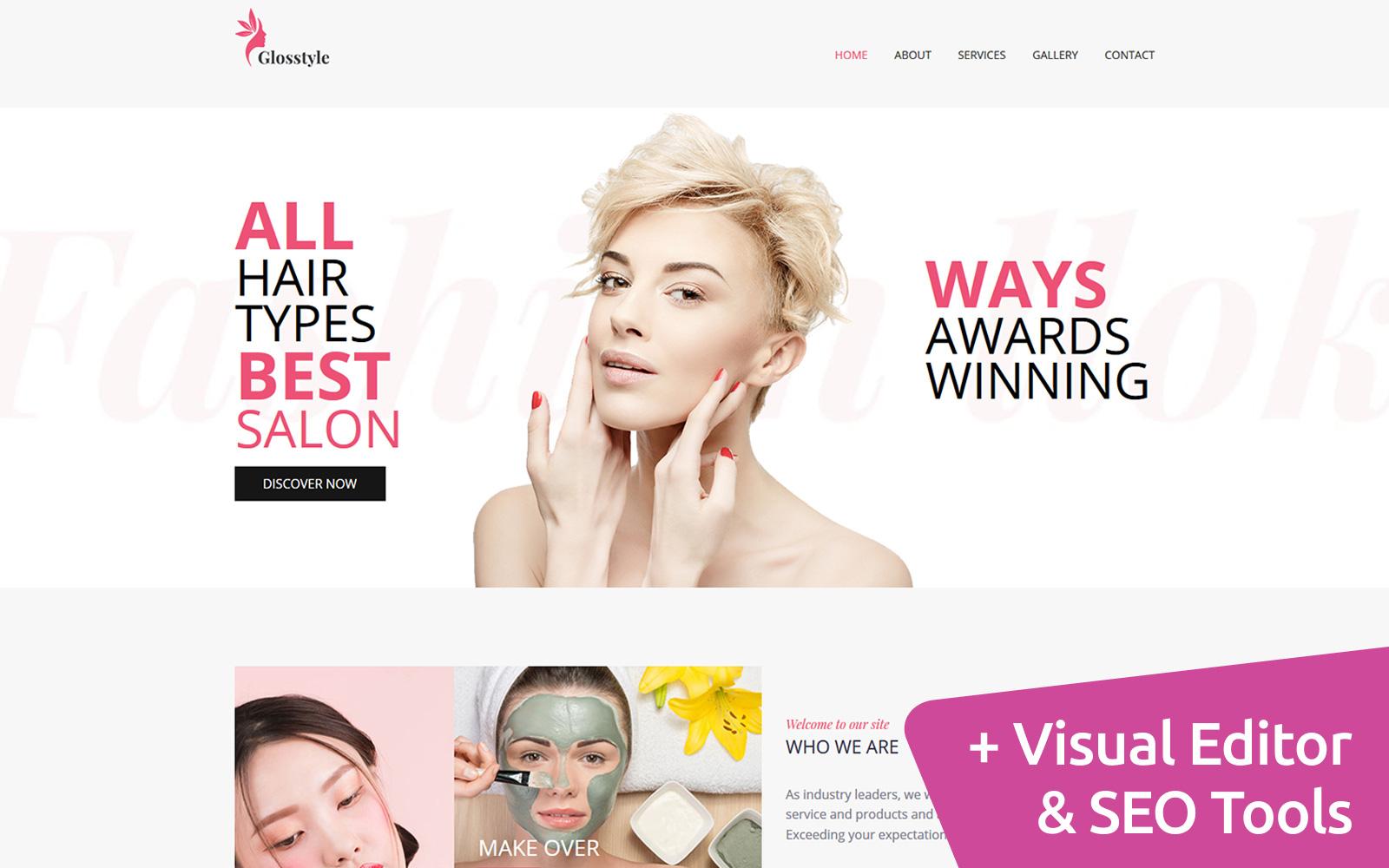 """Glosstyle - Beauty Salon"" modèle Moto CMS 3 adaptatif #103103"