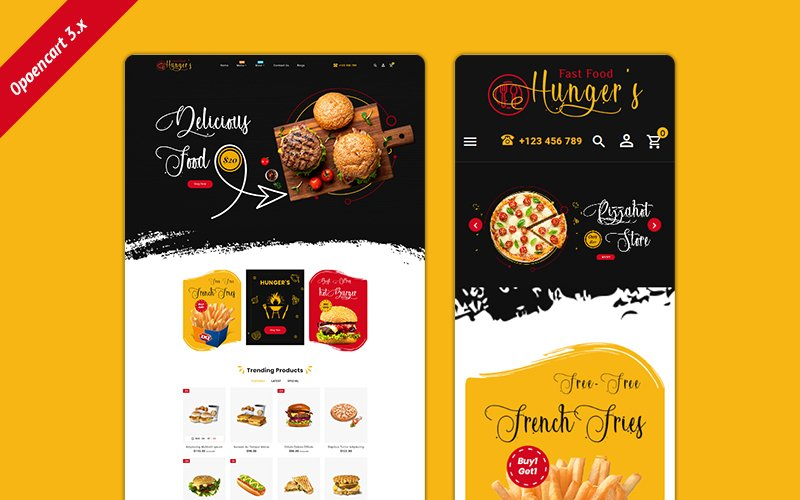Reszponzív Hunger Food – Multi-Purpose Responsive OpenCart sablon 103139