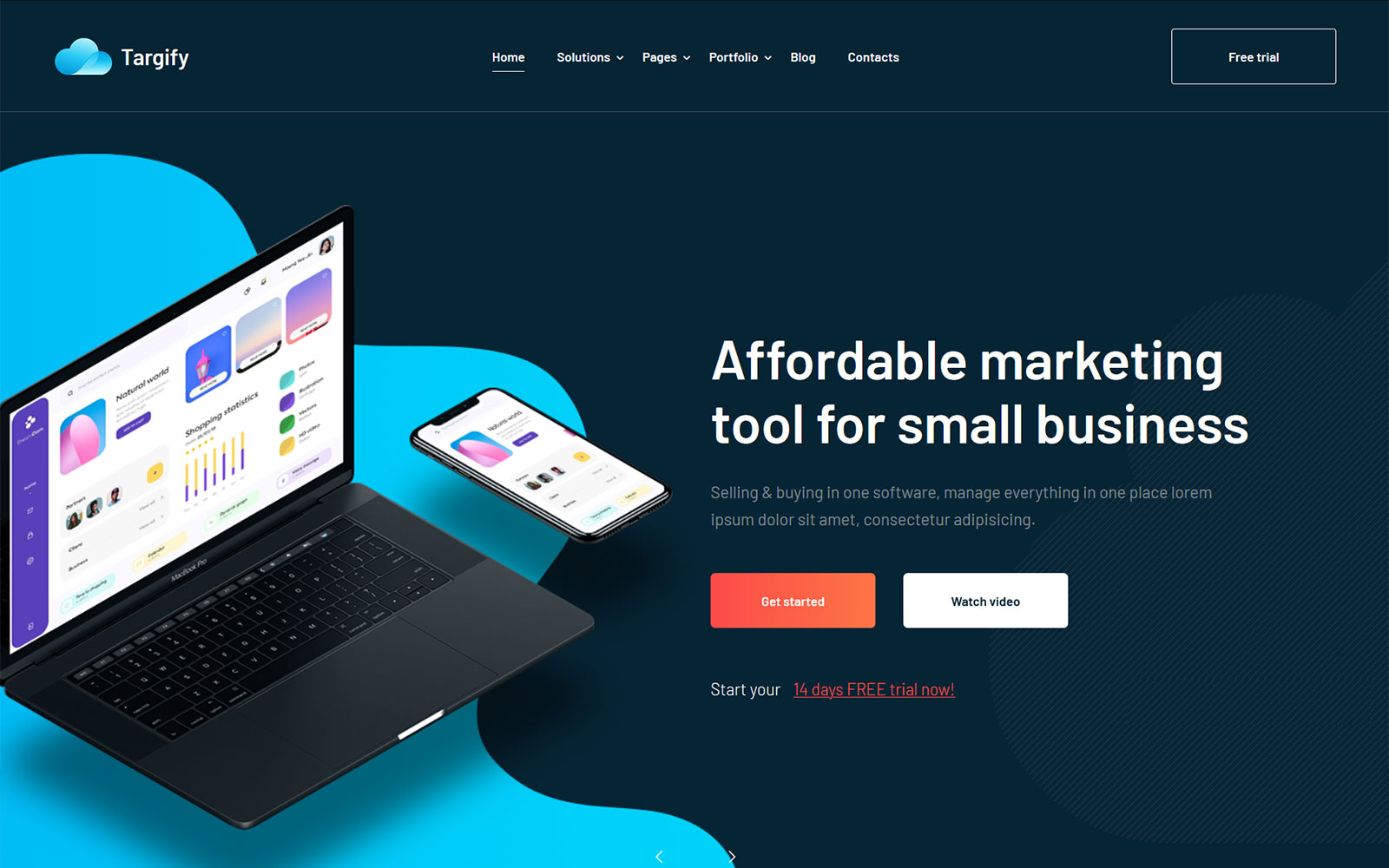 Reszponzív Targify - Marketing Automation SAAS WordPress sablon 103143