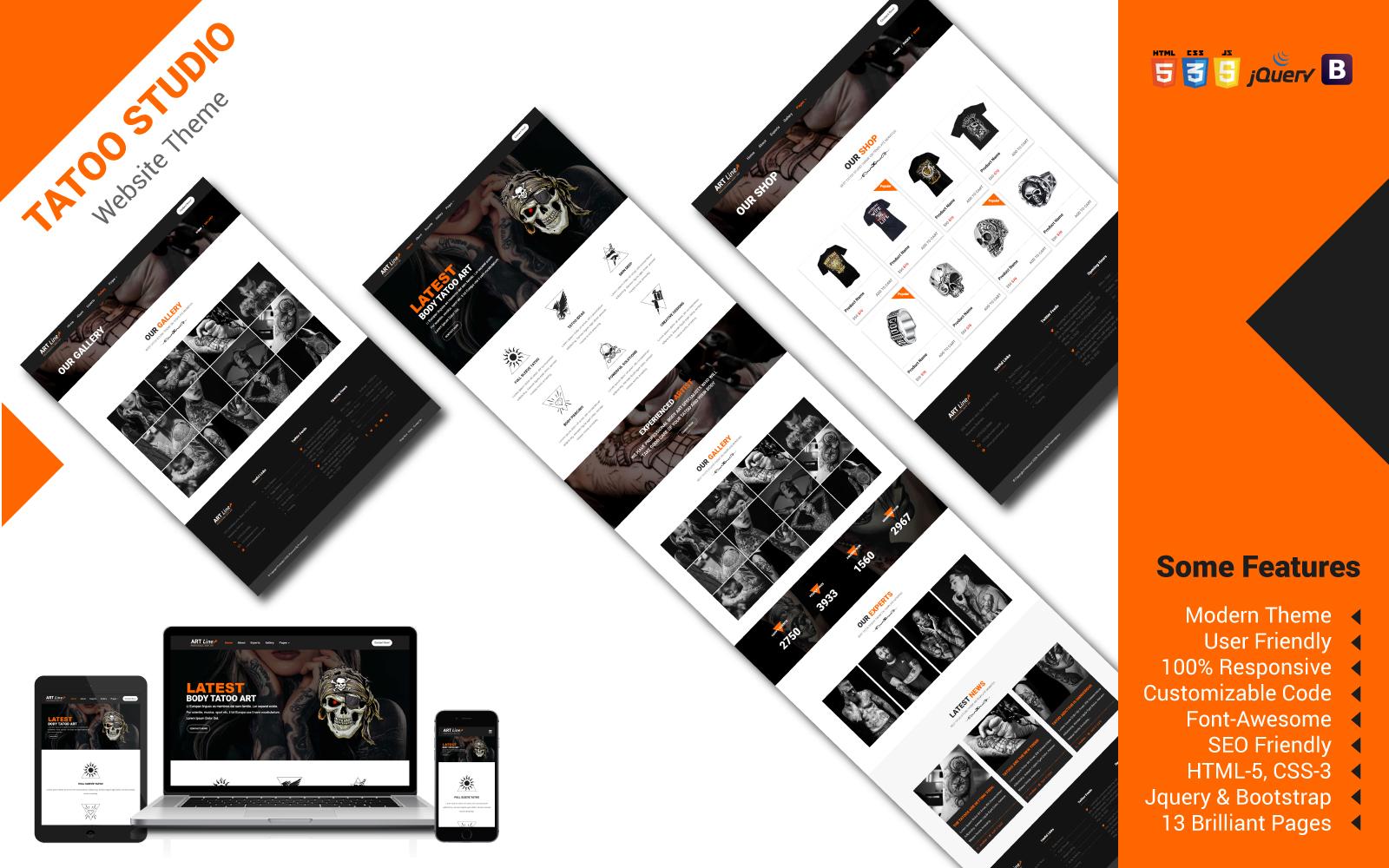 Reszponzív Tatoo Studio Weboldal sablon 103146