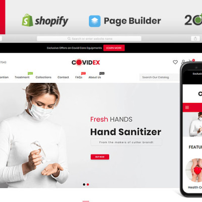 """Template Shopify Responsive #103141 """"Covidex Health + Medicine Online Store"""" #103141"""
