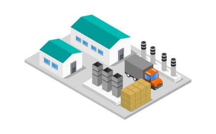 Isometric industry on background Vector Graphic