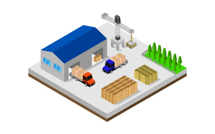 Isometric warehouse Vector Graphic