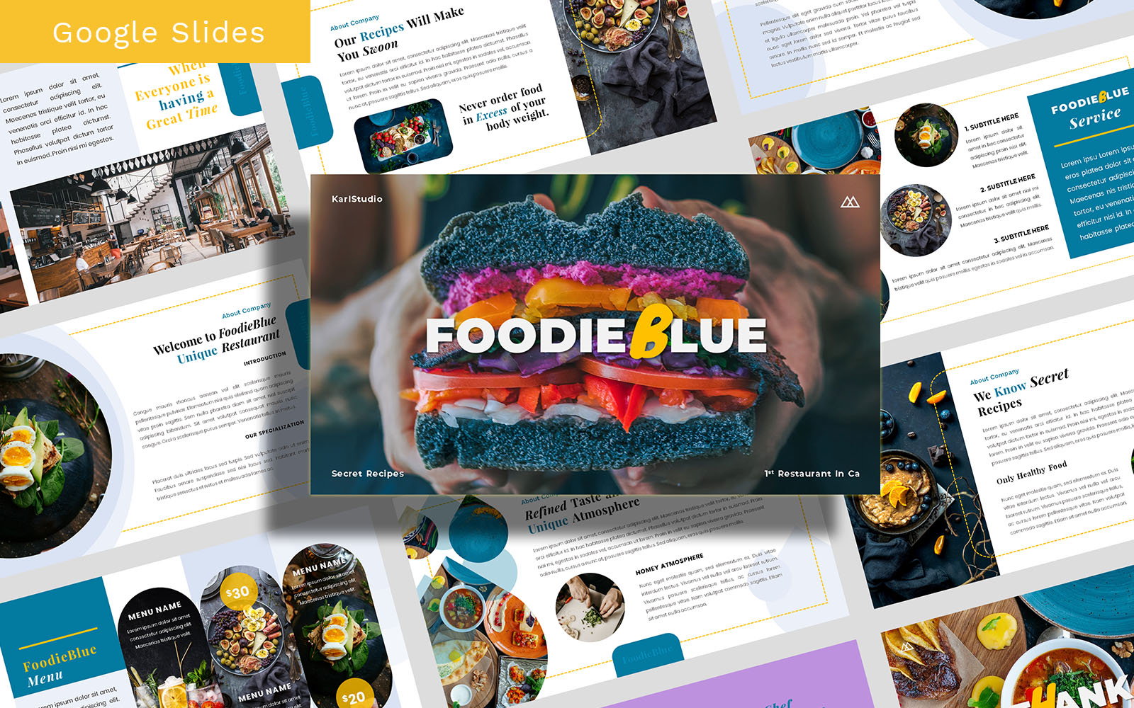 FoodieBlue Food and Restaurant Template Google Slides
