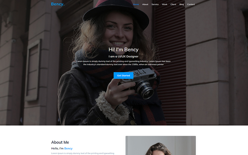 Bency - Landing Page Personal Portfolio Website Template
