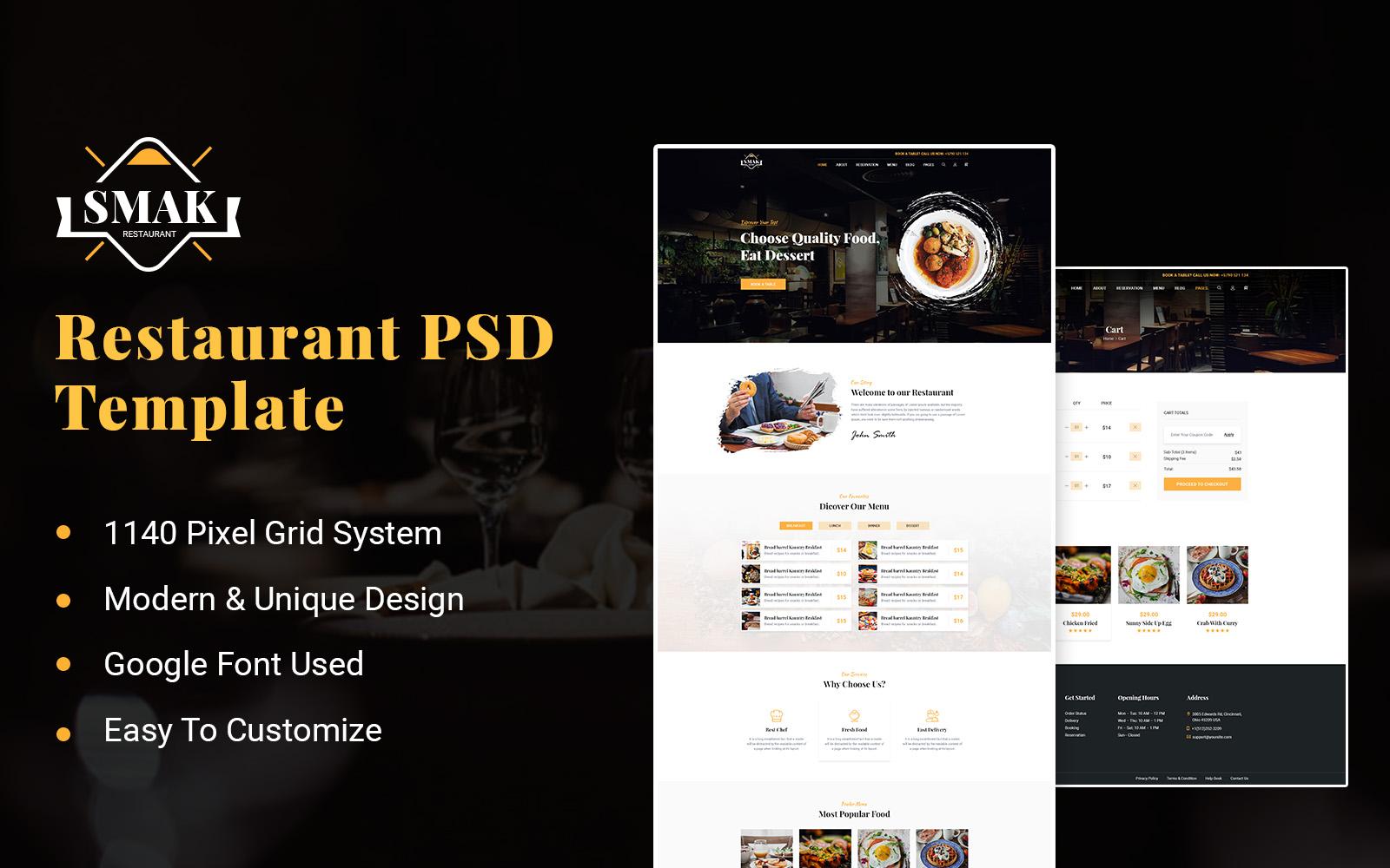 Smak - Restaurant PSD Template