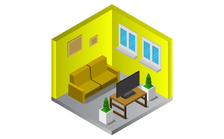 Room with isometric television on white background Vector Graphic