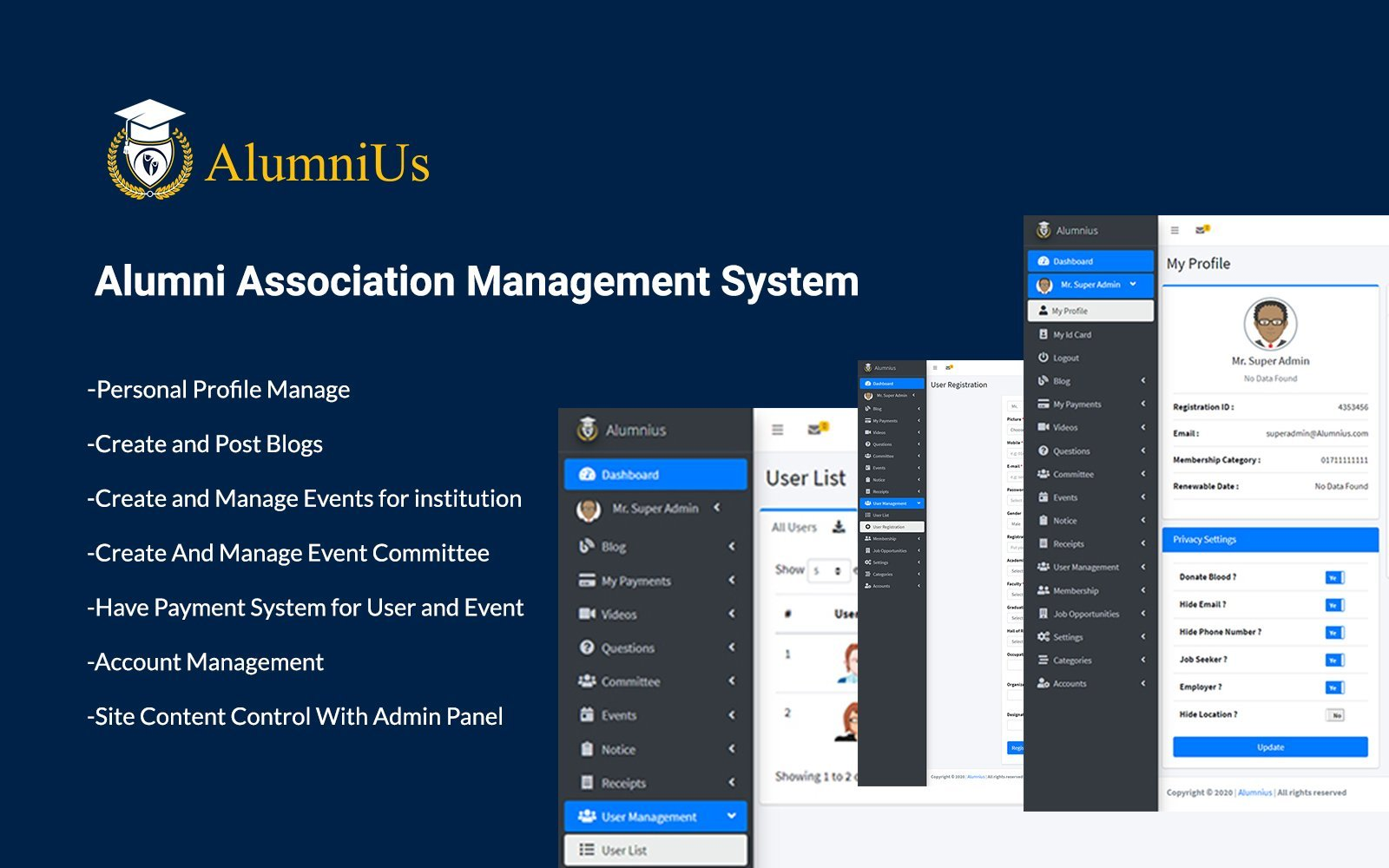 Alumnius- Association Management System Admin Template