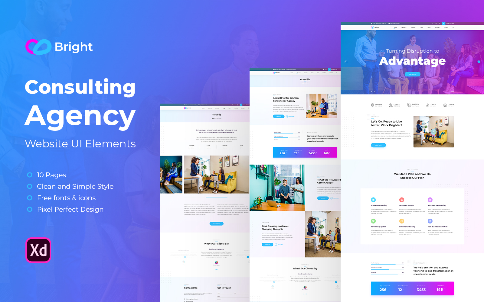 Bright - Consulting Agency Website UI Elements