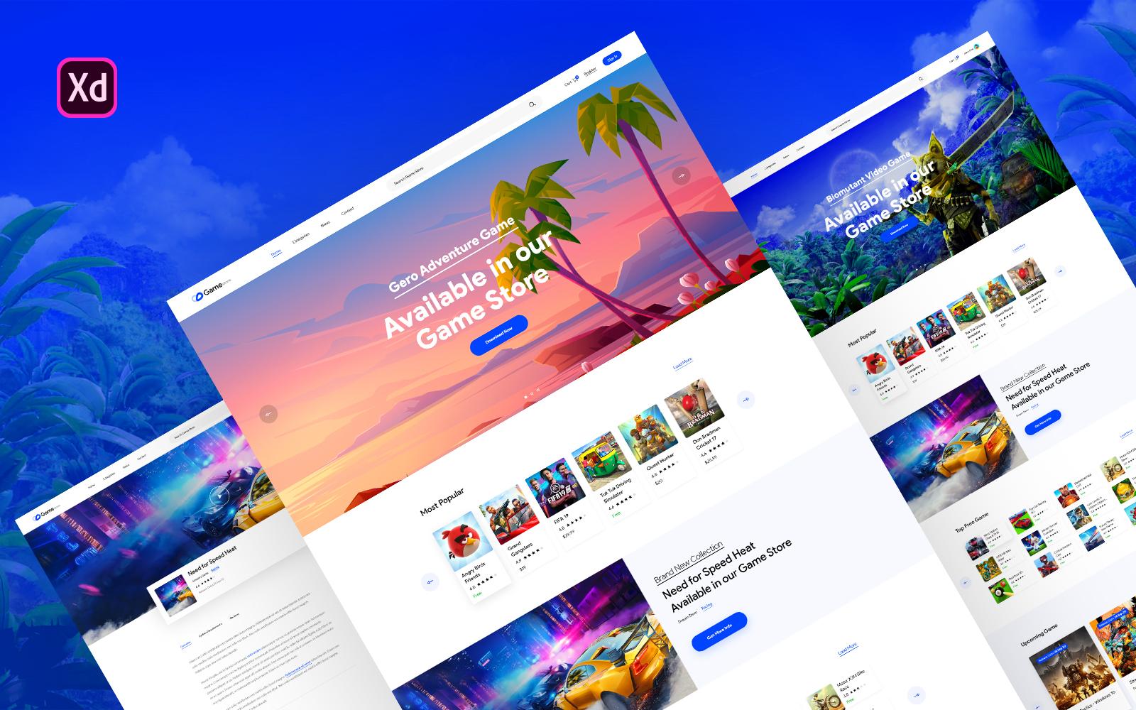 Online Game Store Website UI Elements