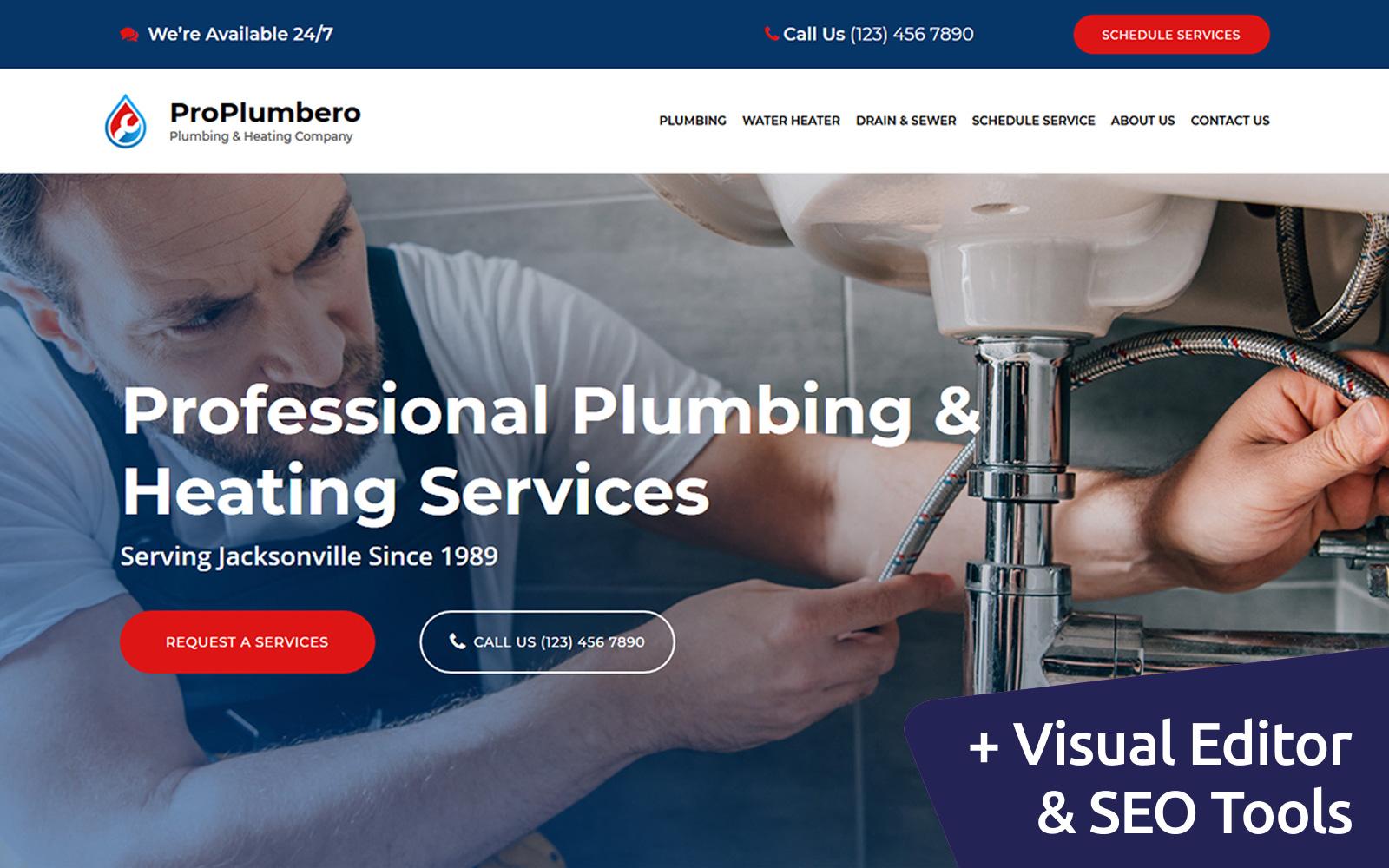 """ProPlumbero - Plumbing & Heating Company"" 响应式Moto CMS 3 模板 #103914"