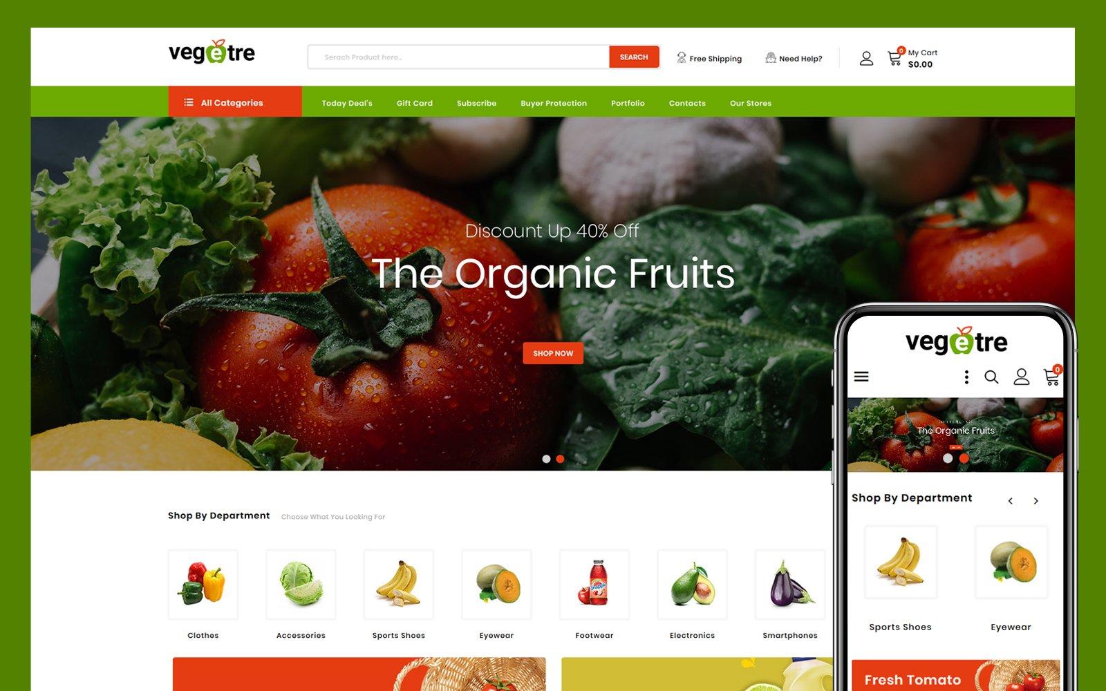"Template PrestaShop Responsive #103900 ""Vegetre - Grocery Store"""