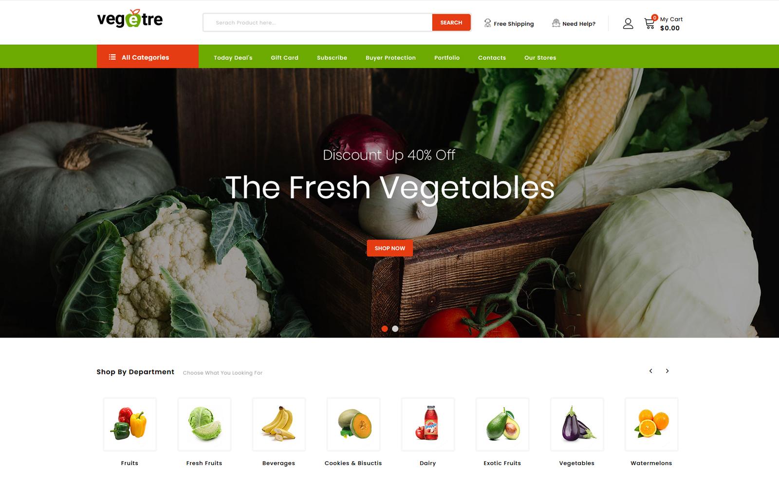 """""""Vegetre - Vegetable and Grocery Shop"""" thème PrestaShop adaptatif #103900"""