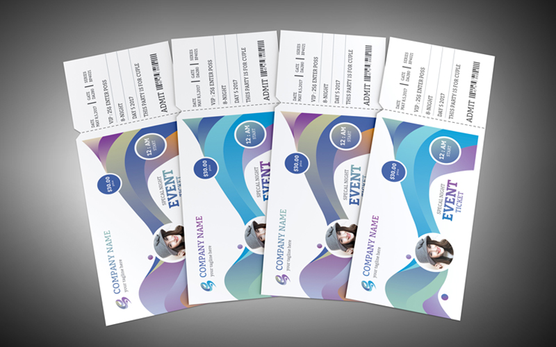 Colorful Event Ticket Corporate Identity Template