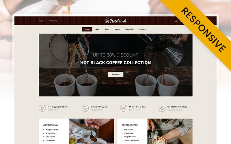 """Hot Drink - Coffee Store"" thème WooCommerce adaptatif #104146"