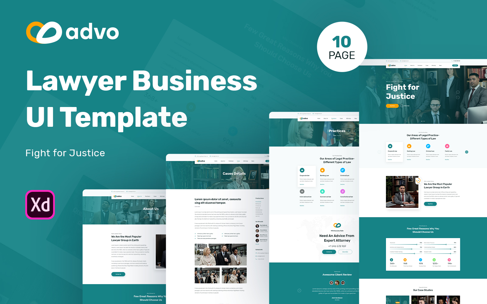 Advo - Lawyer Business Website UI Elements