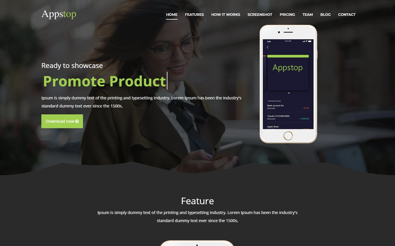 Appstop - apps Landing Page Template