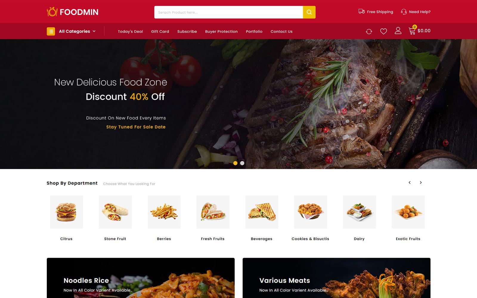 """Foodmin - Restaurant Store"" - адаптивний PrestaShop шаблон №104267"