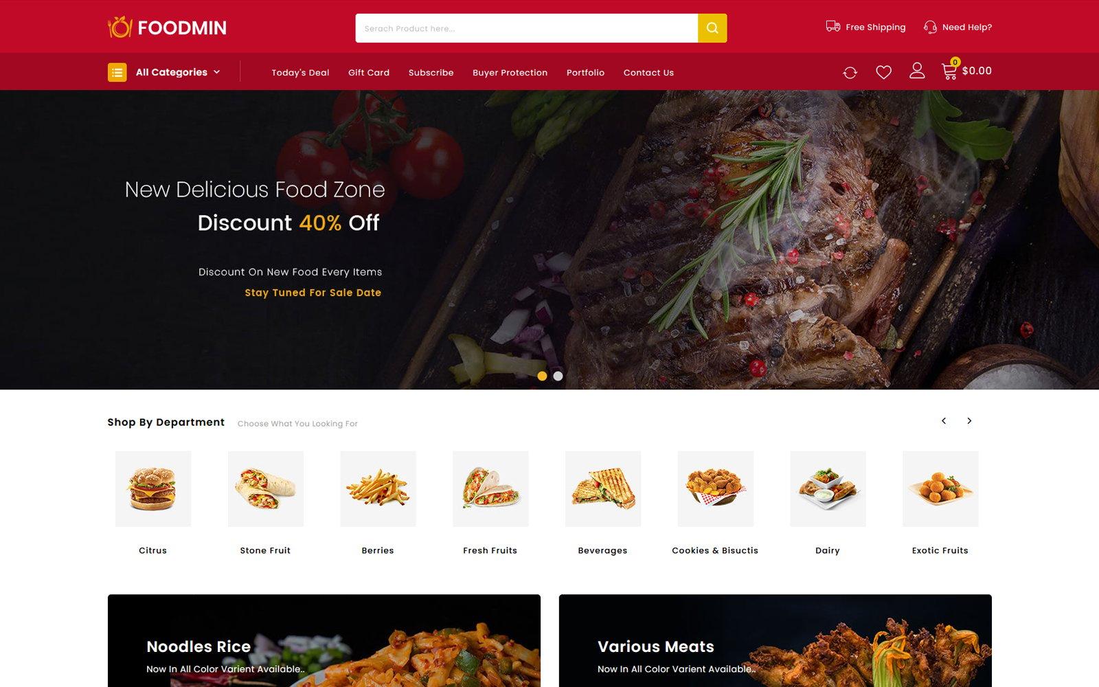 Foodmin - Restaurant Store Tema PrestaShop №104267