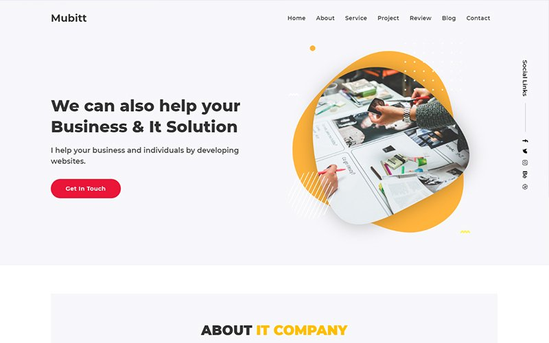 """Landing Page Template namens """"Mubitt - IT Solutions and Services Company HTML"""" #104276"""