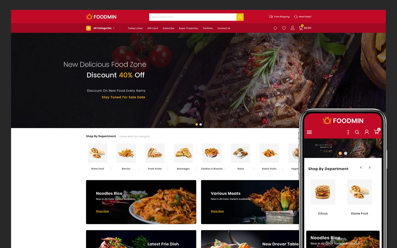 """Modello PrestaShop Responsive #104267 """"Foodmin - Restaurant Store"""""""
