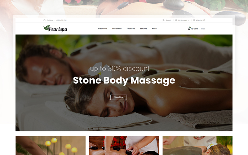 """PearlSpa - Massage Parlour"" 响应式OpenCart模板 #104262"