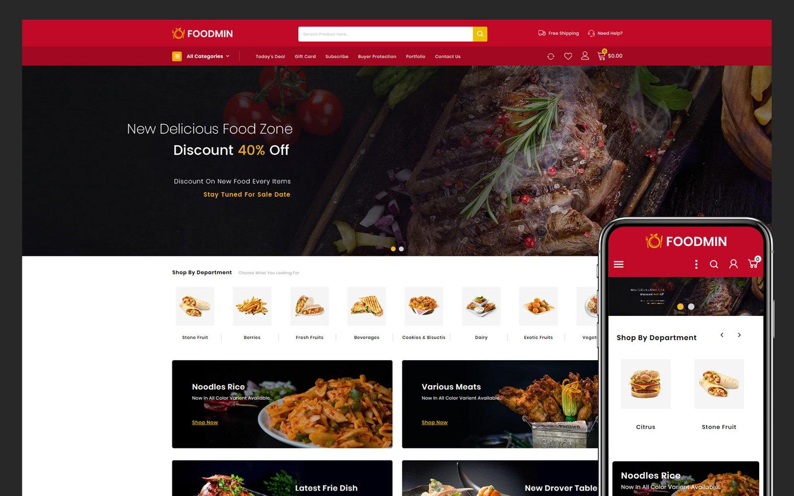 Responsywny szablon PrestaShop Foodmin - Restaurant Store #104267
