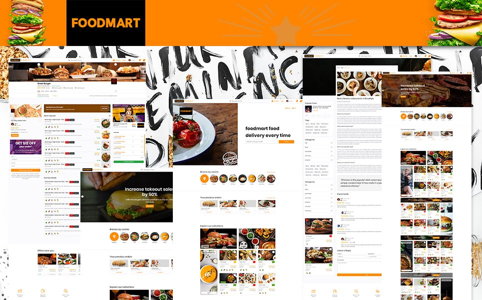 Reszponzív Restaurant listings & Food Delivery HTML5 | FoodMart Weboldal sablon 104266
