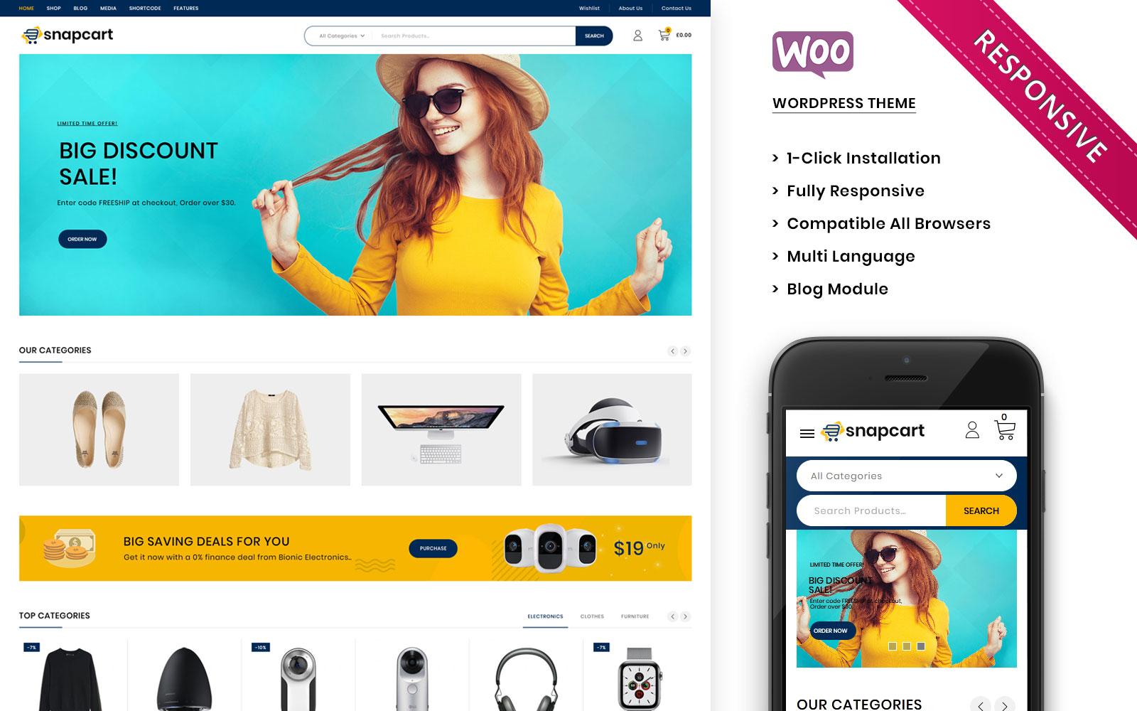 """Snapcart - The Ultimate Mega Shop Responsive"" 响应式WooCommerce模板 #104274"