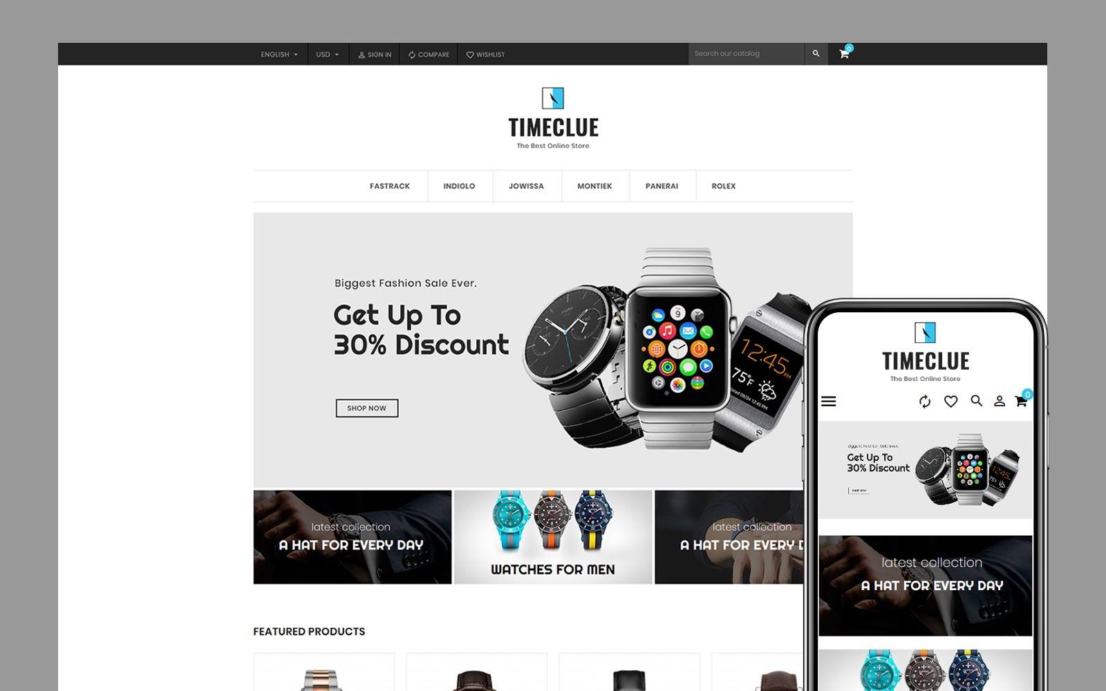 Timeclue - Watch Store PrestaShop Theme