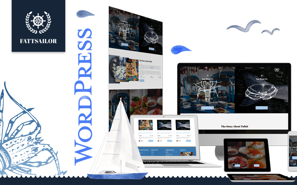 "Template WordPress Responsive #104458 ""Seafood Restaurant 