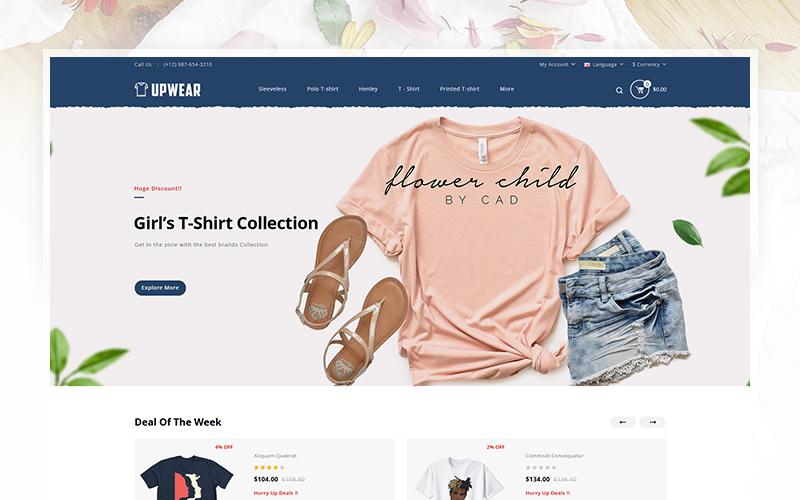 """OpenCart Vorlage namens """"Upwear - Tshirt Store"""" #104694"""