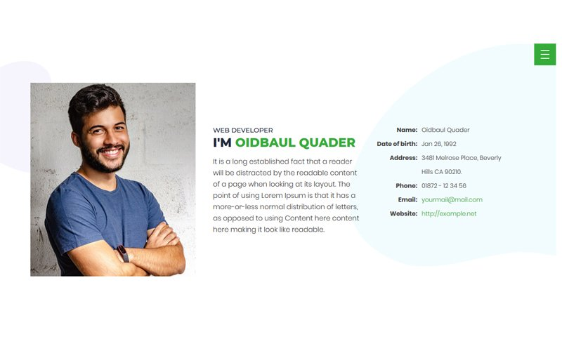 Quader - Personal Portfolio Website Template