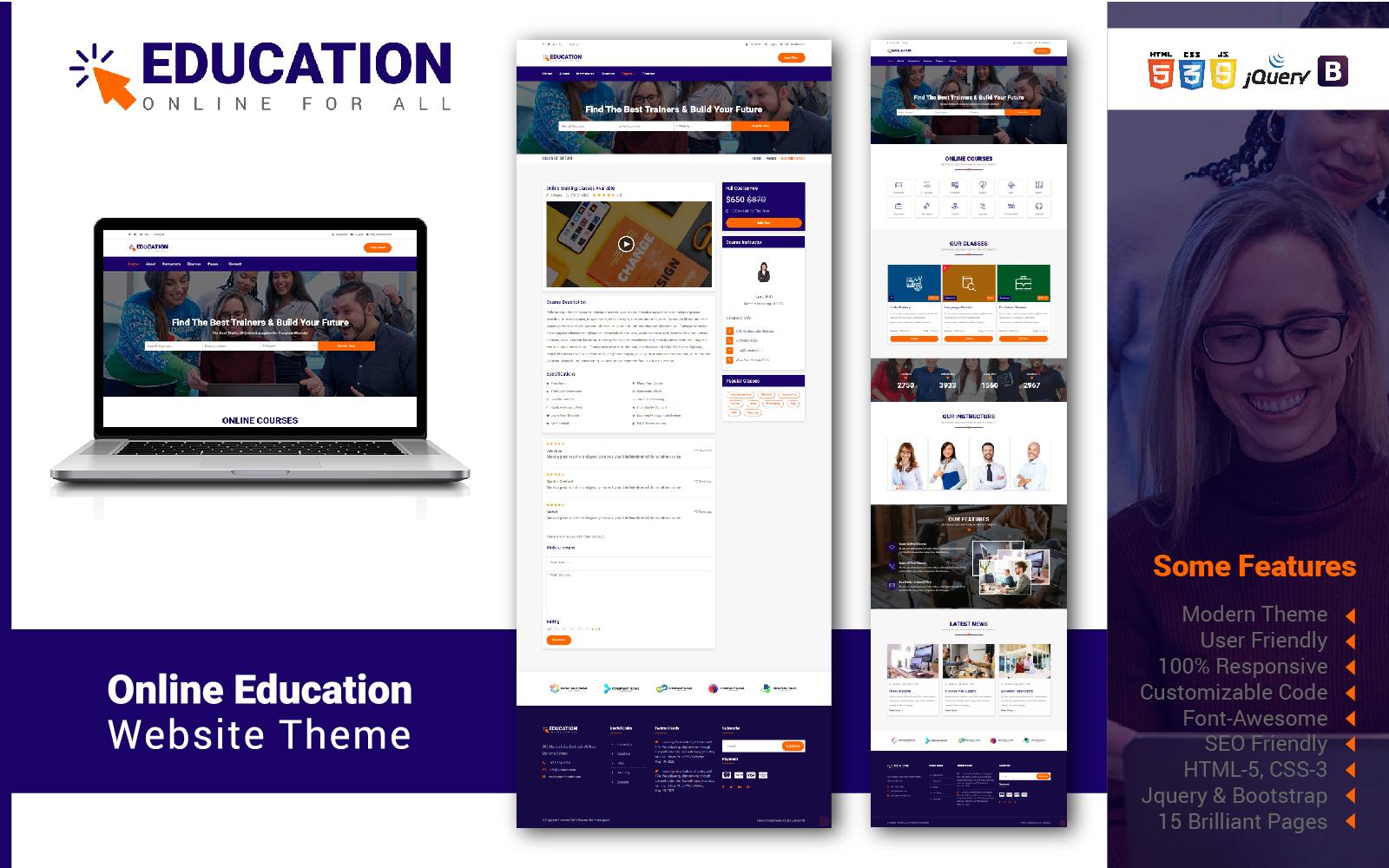 Reszponzív Online Education Weboldal sablon 104691