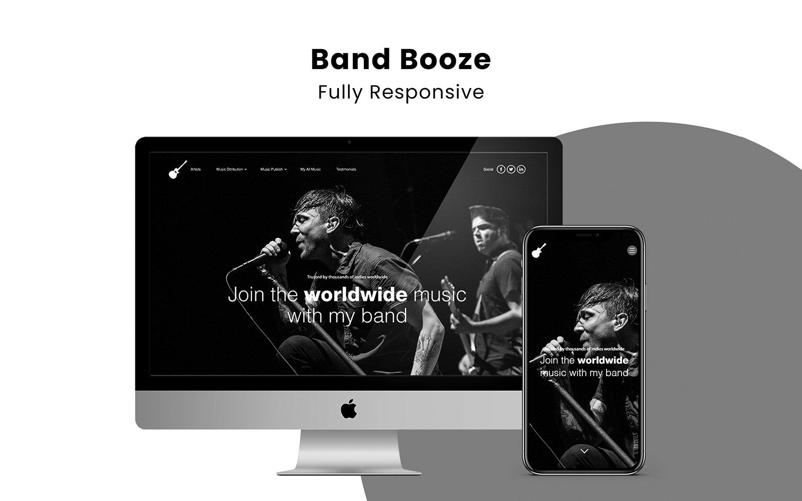 "Landing Page Template namens ""Band Booze - Responsive Portfolio"" #104702"