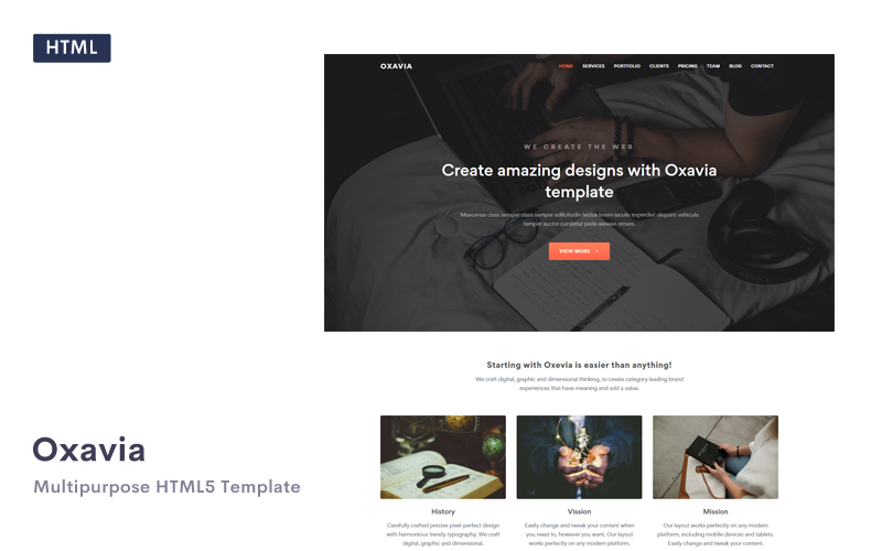 """Landing Page Template namens """"Oxavia - Responsive One Page HTML5"""" #104838"""