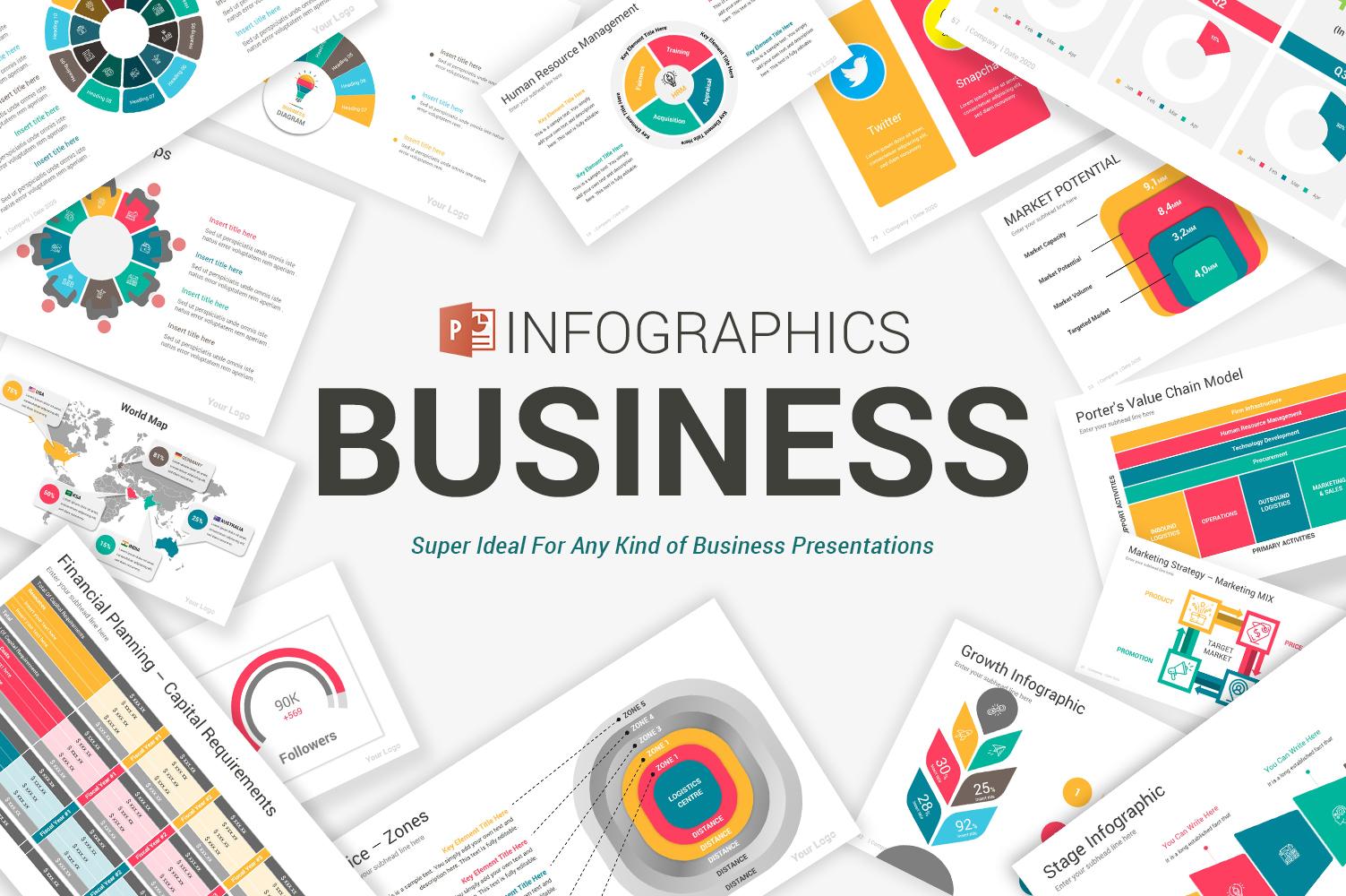 "Luxusní PowerPoint šablona ""Business Infographics"" #104809"