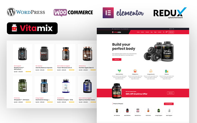 "Modello WooCommerce Responsive #104831 ""Dawa - Sports & Fitness Nutrition and Supplements Store"""