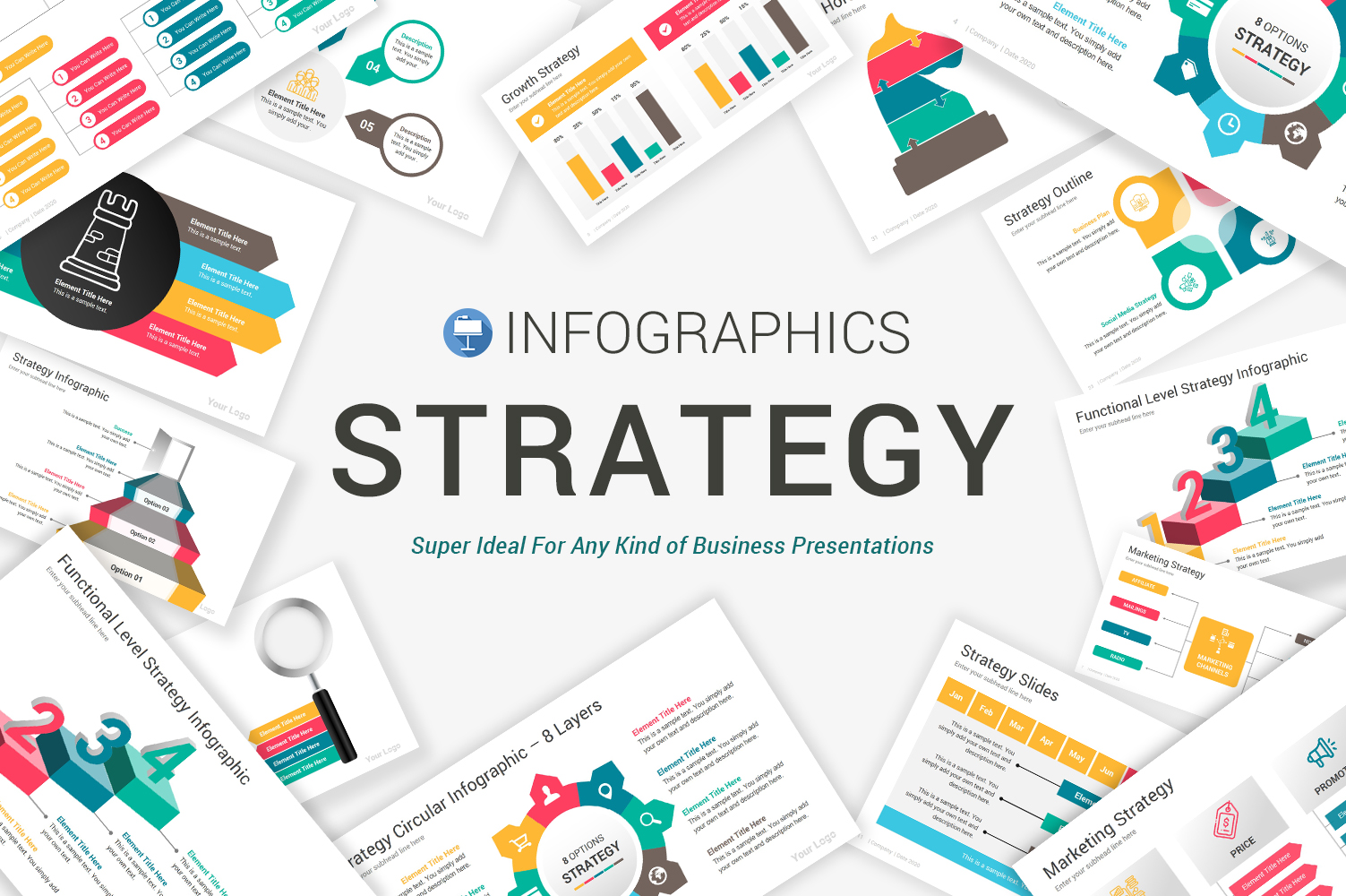 """Template Keynote #104839 """"Strategy Infographics"""""""