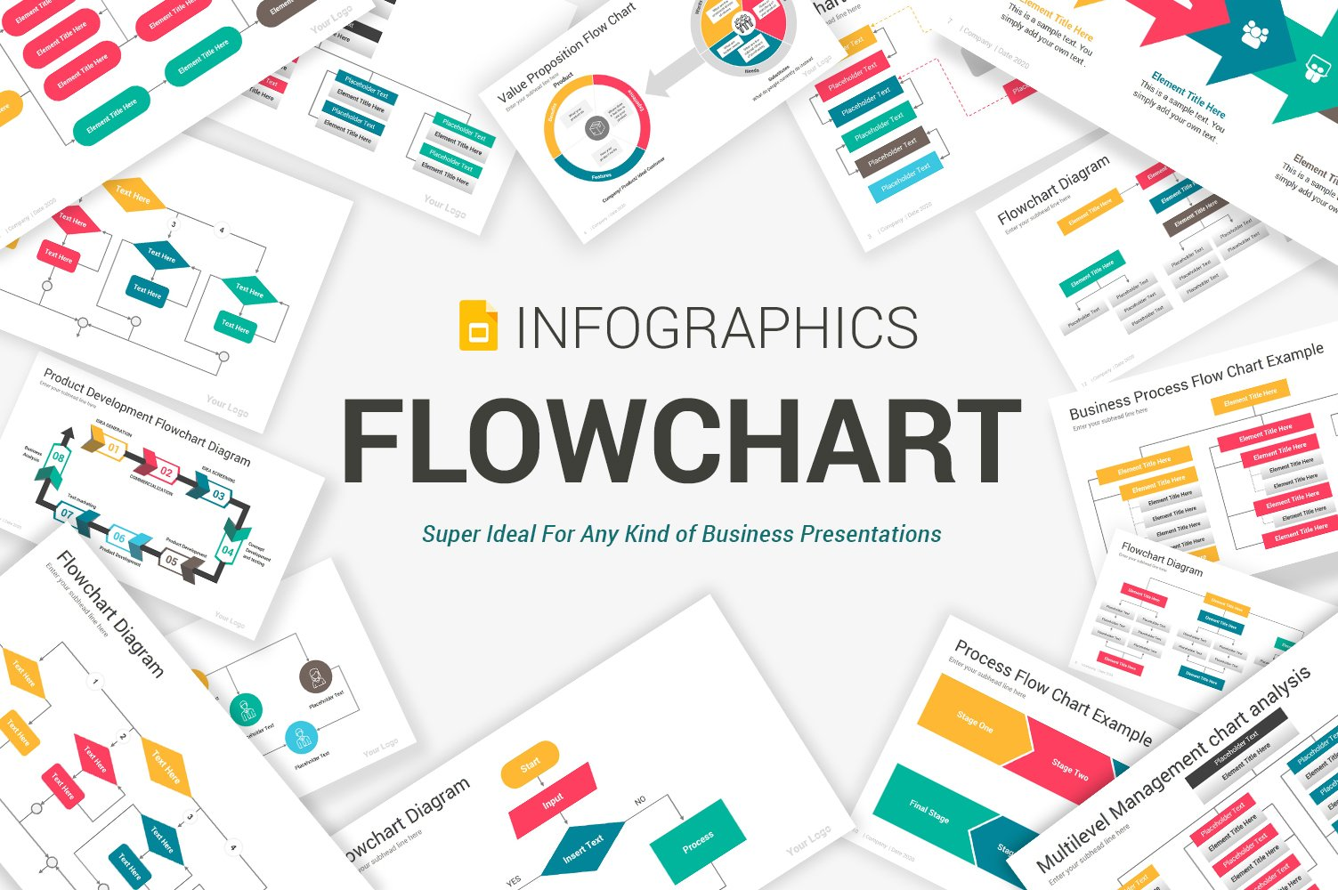 """Flowchart Diagrams Google Slides"" Premium Google Slides №104965"