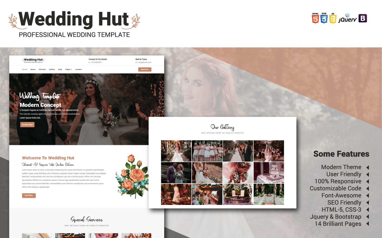 """Responzivní Šablona webových stránek """"Wedding Hut Website Template"""" #104987"""