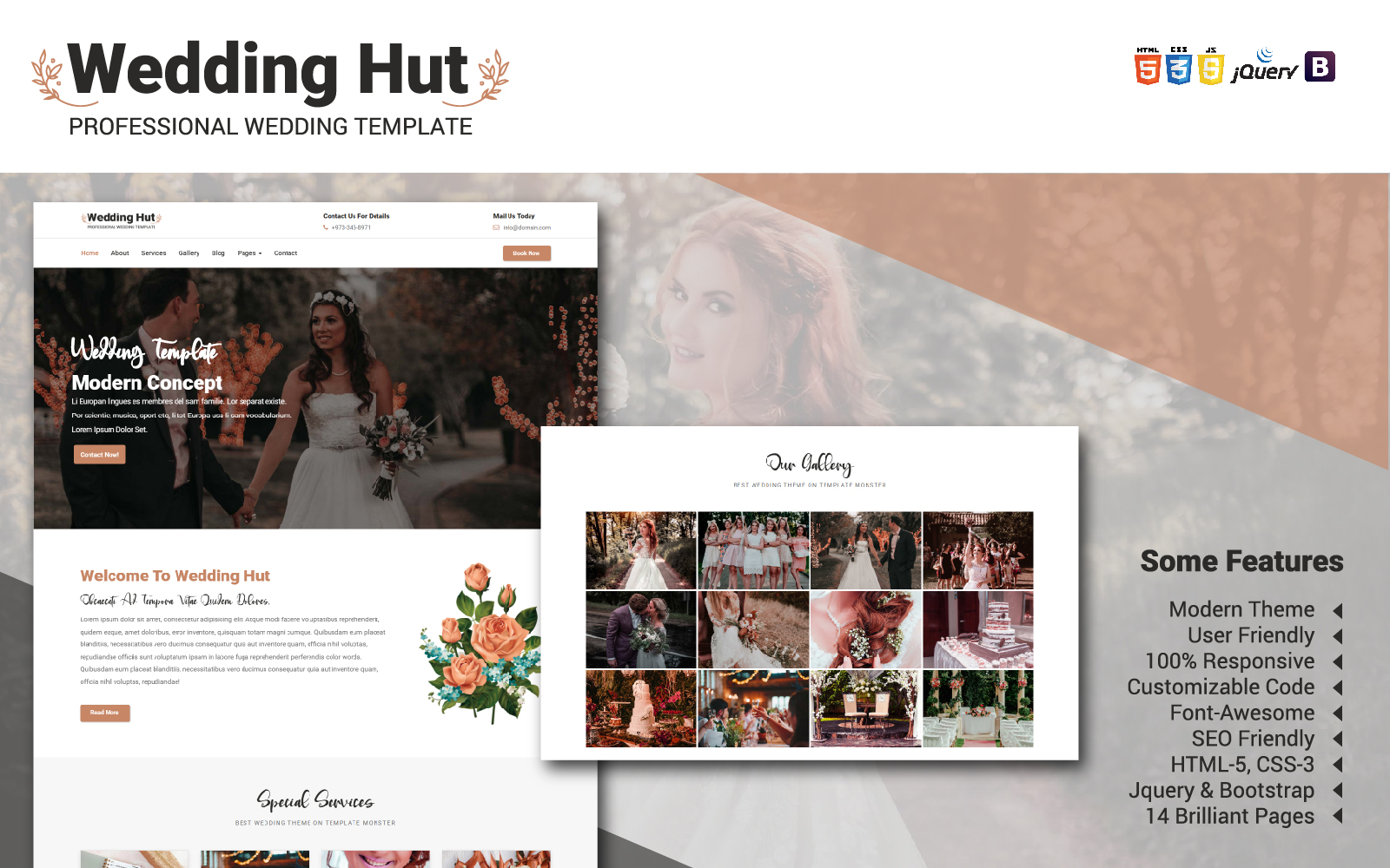 """""""Wedding Hut Website Template"""" 响应式网页模板 #104987"""